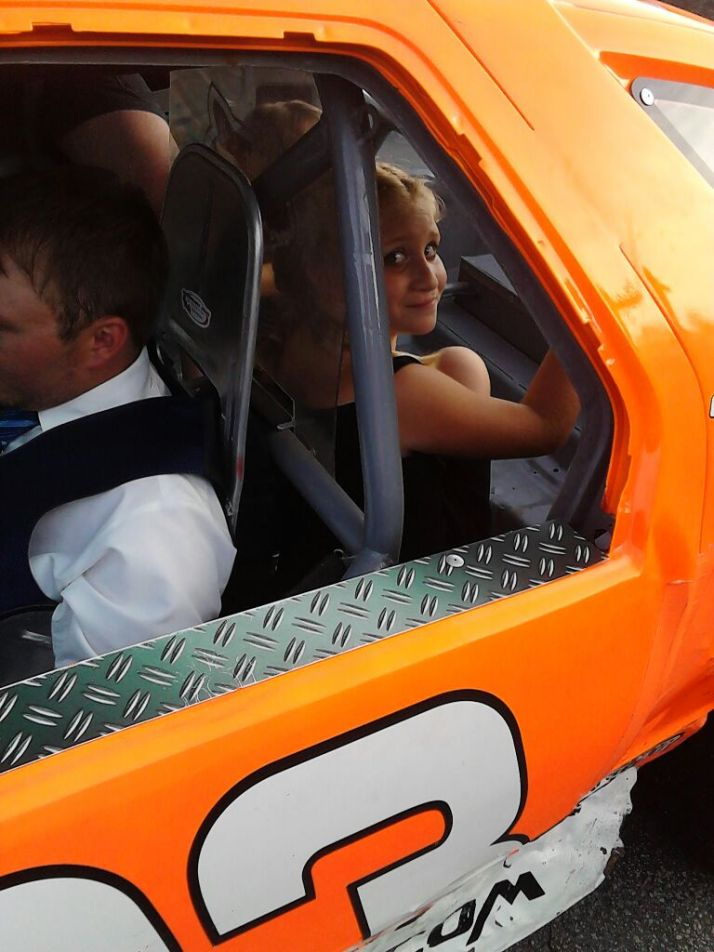 ~My Daughter with Her Favorite Race car Driver, Bunker Hodgdon~